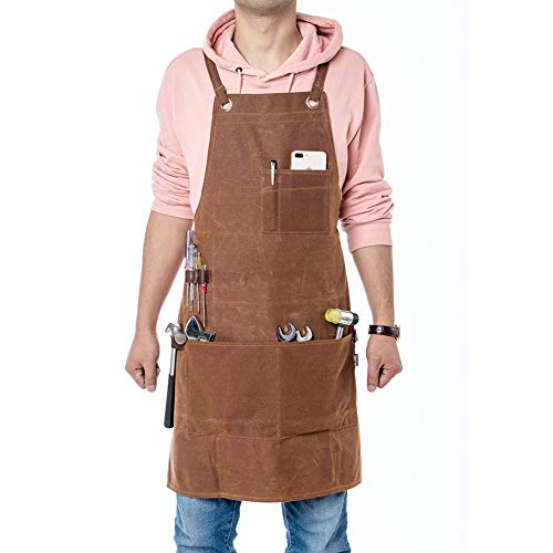 Heavy Duty Tool Apron, 16oz Waxed Canvas Work Apron for Men, Adjustable Woodworking & Machinist Shop Apron with Tool Pockets WQ40