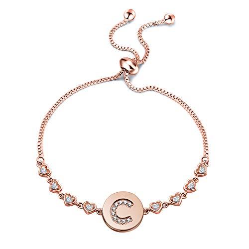 WUSUANED Rose Gold Initial Bracelet Letter Bracelet Adjustable Chain Bracelet Personalized Jewelry for Women Girls (Rose Gold-C) from WUSUANED