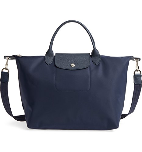 Longchamp 'Medium Le Pliage Neo' Nylon Top Handle Tote Shoulder Bag, Navy