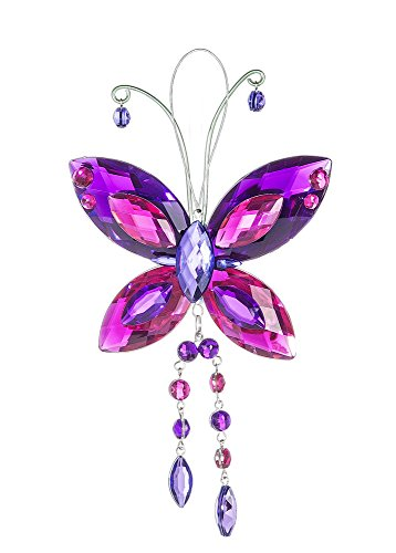 Butterfly Crystal Expressions with Tassels 7 Inch Acrylic Hanging Figurine - Purple/Fuchsia ()
