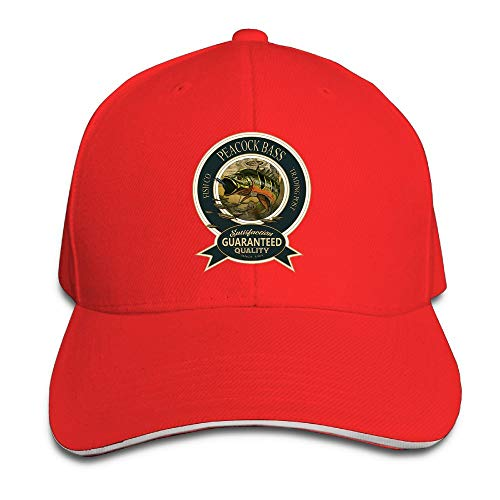 JimHappy Peacock Bass Novel Trucker Cap Durable Baseball Cap Hats Adjustable Peaked Sandwich Cap -