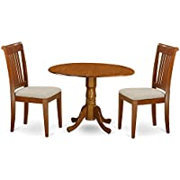 East West Furniture DLPO3-SBR-C 3-Piece Kitchen Table and Chairs Set, Saddle brown Finish