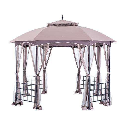Sunjoy L-GZ660PST Gazebo, 12 x 10 x 9.45', Brown/Black -