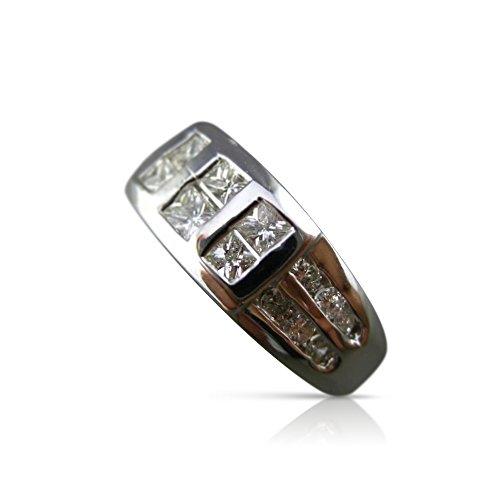 Milano Jewelers .89CT ROUND & PRINCESS DIAMOND 18KT WHITE GOLD MENS GYPSY RING #6546 -