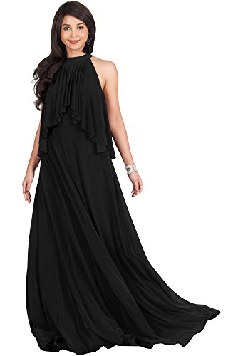 mens Long Sleeveless Halter Neck Flowy Bridesmaid Bridal Cocktail Spring Summer Beach Wedding Party Guest Floor-Length Gown Gowns Maxi Dress Dresses, Black XL 14-16 ()