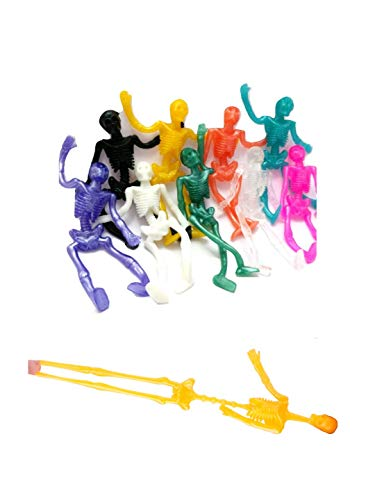 UpBrands 45 Pack Stretchy Skeleton 4 inches Bulk Set 9 Glitter Colors, Kit for Birthday, Halloween Party Favors for Kids, Goodie Bags, Easter Egg Basket, Pinata Filler, Small Toys Classroom -