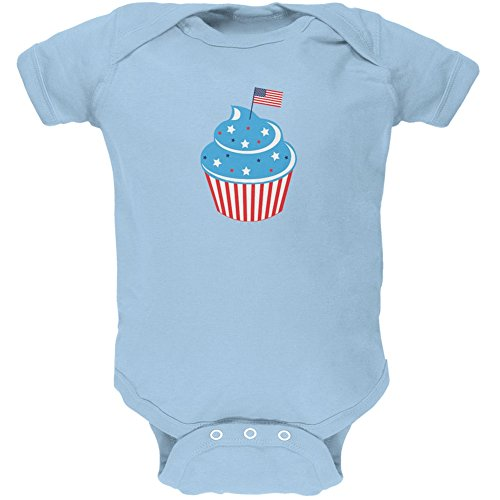 - Old Glory 4th of July American Flag Cupcake Light Blue Soft Baby One Piece - 18-24 Months