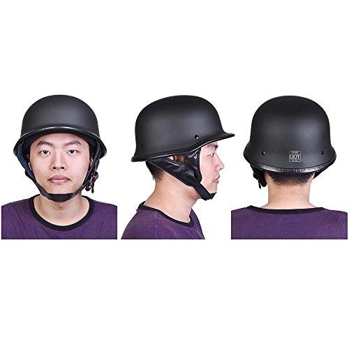 LeeMas Inc Motorcycle Chopper Helmet Half Face German Style DOT Approved Skull Cap Open Face Cruiser Chopper Biker Black Size M