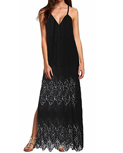 StyleDome Women Strap Dress Sexy Deep V-Neck Plus Size Lace Floral Crochet Evening Gowns Black US 4