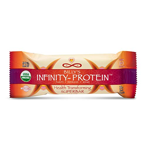 Billy's Infinity Protein Vanilla Raw Protein Bar, Organic and Wild Crafted Ingredients, Contains 18 Grams of Pure Plant Protein Per Serving, Non GMO and Gluten-Free, Full Case of 12 Bars ()