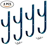 4 Pcs Set Pool Pole Hangers Heavy Duty Blue Aluminium Holder with Screws Perfect Hooks for Swimming Pool, Telescopic Poles, Skimmers, Nets, Brushes, Vacuum Hose, Garden Equipment, Outdoor Supplies