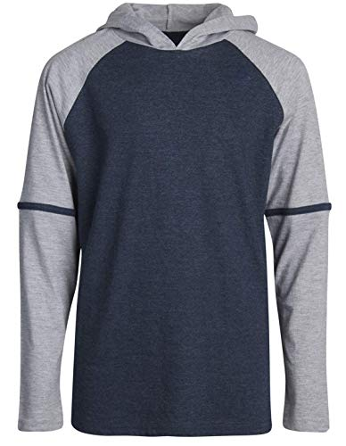 Reebok Boys Lightweight Long Sleeve Pullover Hooded T-Shirt, Navy Heather Colorblock, Size X-Large'