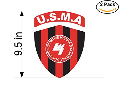 fan products of Union Sporive Medina d Alger Algeria Soccer Football Club FC 2 Stickers Car Bumper Window Sticker Decal Huge 9.5 inches