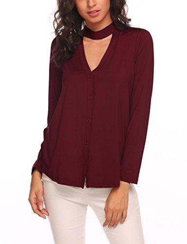 SUNAELIA Women's Open Front Casual Solid Light Long Sleeve Tunic Wine Red (Slinky Open Back Dress)