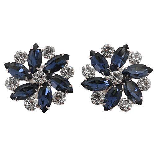 TENDYCOCO 1 Par Clip de Zapatos Desmontable de Diamante de Imitación Plata para Fiesta Boda Azul Oscuro