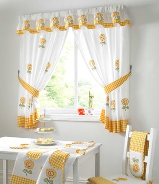 Lemon Curtains   Embroidered Kitchen Curtains   Sunflower   46u0027u0027 ...