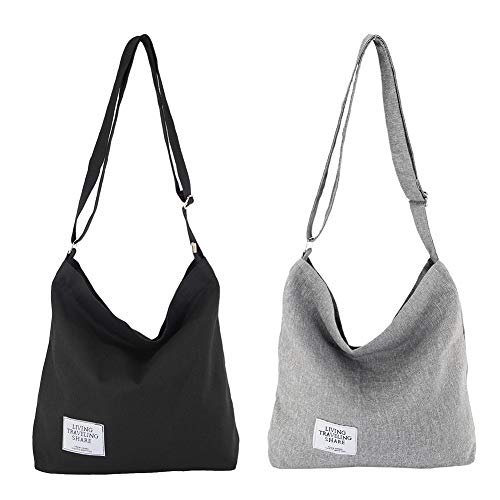 (Womens Canvas Crossbody Hobo Bag Large Tote Messenger Shoulder Purse with Zipper Casual Work Travel Bags (Black & Grey(2 Pack)))