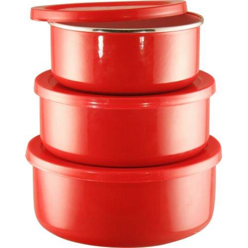 Calypso Basics by Reston Lloyd 6-Piece Enamel on Steel Bowl/Storage Set, Red
