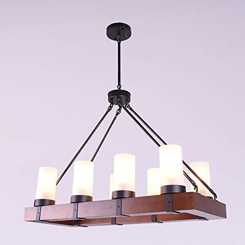NIUYAO Industrial 8-Lights Pendant Light Wood Island Lighting Vintage Style Rectangular Chandelier Rustic Ceiling Lamp with Alabaster Glass Shade for Dining Room Kitchen Living Room 487111