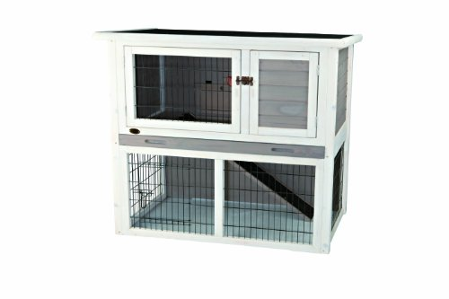 Trixie Rabbit Hutch with Sloped Roof (M), Gray/White