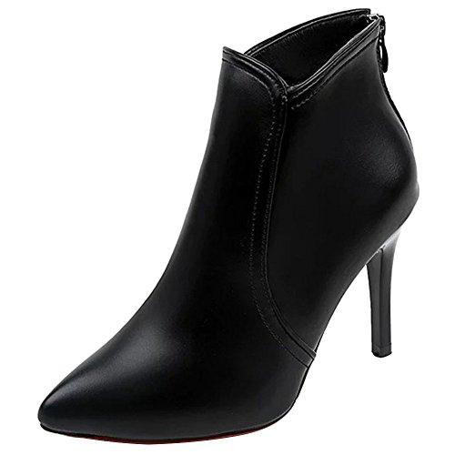 Chaussures Talon PU Pointu Bout Cuir Bottine Femme Soir Aiguille Botte wealsex Sexy Courte P4TqFpwn