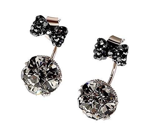 MISASHA Fashion Jewelry Designer Rhinestone Double Ball Bow Tie Earrings (Black) ()