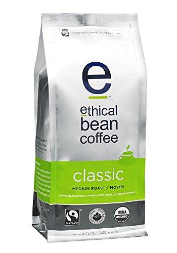 Ethical Bean Coffee Classic: Single Origin Medium Roast Whole Bean Coffee - USDA Certified Organic Coffee, Fair Trade Certified - 12 ounce bag (Fair Classic Roast Trade)