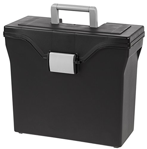 IRIS Slim Letter Size Portable File Box with Handle, 5 Pack, Black by IRIS USA, Inc.