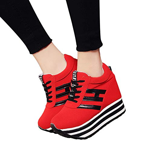 Fashion Women's Casual Lace Up Sneaker High-top Thick Bottom Sport Shoes Fitfulvan(Red,6.5)