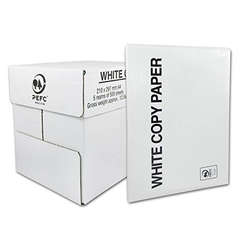 Kopierpapier Druckerpapier Papier, A4, 80g/m² für Laserdrucker, Tintenstrahldrucker, 2500 Seiten Blatt, weiß