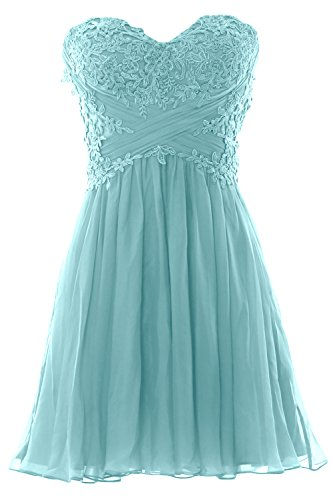 MACloth Prom Formal Chiffon Gown Dress Strapless Cocktail Lace Party Turquoise Mini Women wpgRw