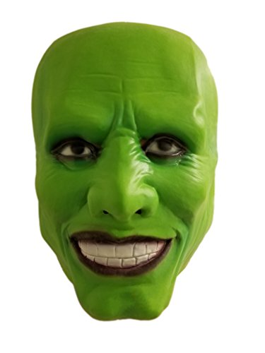 The Mask Movie Jim Carrey 1994 - Halloween Costume Latex Mask Green Mask for Costume Party (Funny Halloween Movie)