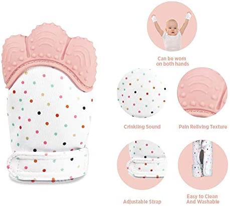 2 Pack Prevent Scratches Glove for Infants Self Soothing Pain Relief Teether Toy Mitt BPA Free NYKKOLA Baby Teething Mitten Stimulating Teether Toy