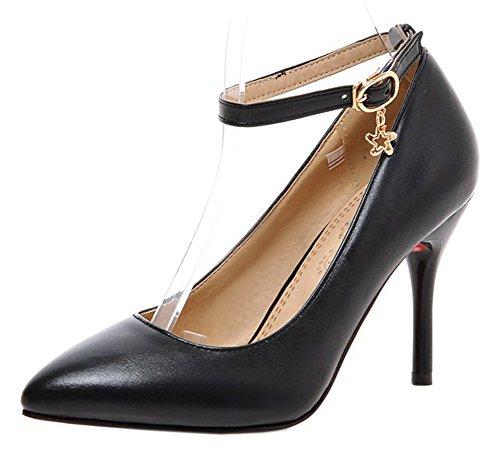 Stiletto Aiguille Noir Femme Elégant Escarpins Boucle avec Talon Easemax nITwqx