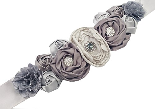 Floral Fall Flowers Maternity Sash for Wedding Sashes Romantic Flowers Belt SH-02 (Sliver)