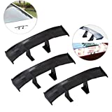 3Pcs Universal Car Mini Spoiler Wing - Creatiee Auto Car Tail Wing | Mini Auto Carbon Fiber Texture Decoration | Without Perforation Tail Decoration - 6.7 Inch (Black)