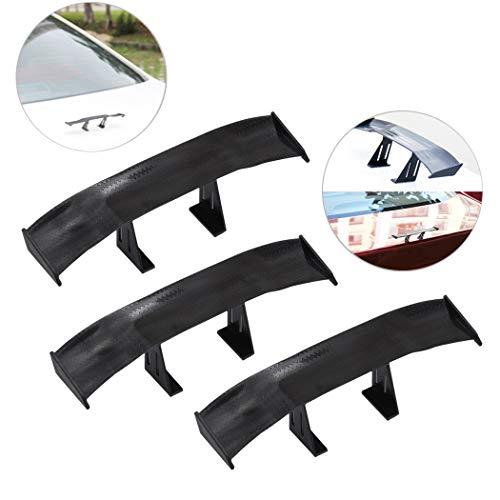 - 3Pcs Universal Car Mini Spoiler Wing, Creatiee Auto Car Tail Wing | Mini Auto Carbon Fiber Texture Decoration | Without Perforation Tail Decoration, 6.7 Inch (Black)