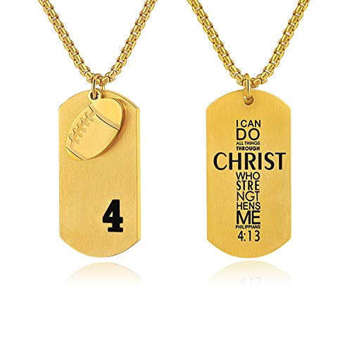 Bible.Shop Men's Football Player Number 4 Stainless Steel Cross Dog Tag Pendant I Can Do All Things Bible Verse Necklace (Gold) ()