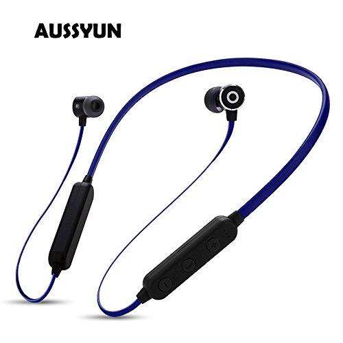 AUSSYUN True Hi-Fi Stereo Sounds Bluetooth Headphones, TF Card Player,A-PTX Earphone with Micro Mic, Neckband Sport Gym Headphones for Sports Workouts, 8-10 Hours Playing (Blue) from AUSSYUN