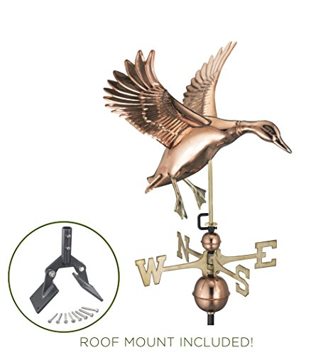 Good Directions Landing Duck Weathervane with Roof Mount - Pure Copper