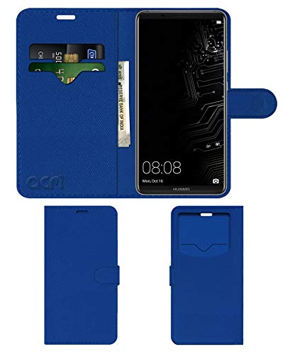 acm leather window Flip Cover wallet front  amp; Back Cover Case compatible with huawei mate 10 pro mobile cover blue