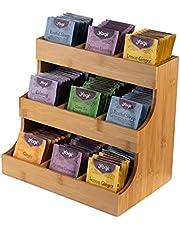 THEODORE Verticale theezak-organizer, bamboe-theezakhouder, geschikt voor 180 theezakjes, elegante en praktische houten theedoos voor thuis of op kantoor of in café. Kan ook suikerpakketten en crèmes bevatten