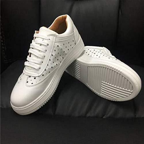 Blanco Primavera White Zapatos Nappa de Cerrado Verano ZHZNVX Mujer Flat Comfort pie Dedo Leather del Heel Sneakers awXCZ