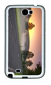 cases customized sunrise road morning mist TPU White case/cover for samsung galaxy N7100/2