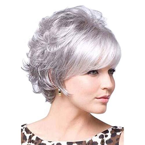 L-SLWI Perruque femelle dégradé gris argenté cheveux Courts et bouclés Rose Perruque Nette définie Haute température Soie Dame Perruque ()