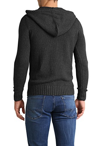 over Pull 8288 Dark Melange Pravin Grey En Pour Homme Pull Grosse À Capuche Maille solid Tricot W8BH45wFq4