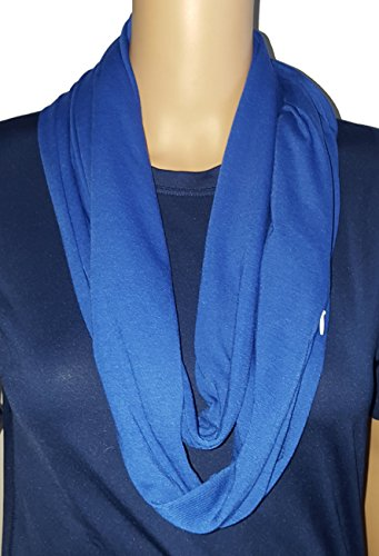 Solid Infinity Soft Polyester Scarf with Hidden Zipper Pocket (Blue)