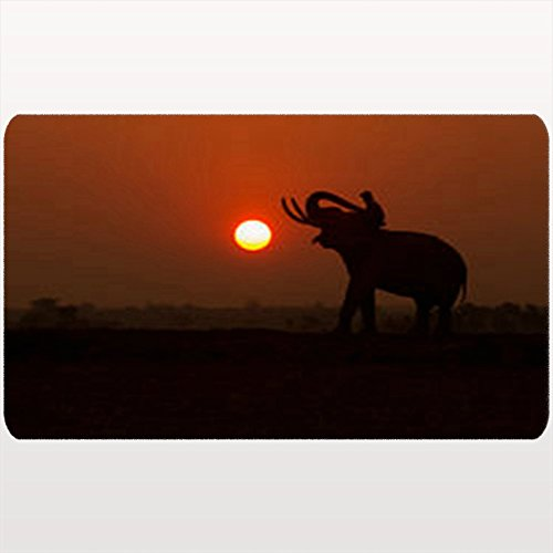 NOWCustom Unique Decor Doormats Silhouette Elephant On Sunsetelephant Thai Animals Wildlife Africa People African Home Welcome Doormat 18X30 Inches Indoor/Outdoor/Front Door/Bathroom Non Slip Mats by NOWCustom