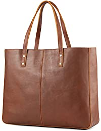 Genuine Cow Leather Tote Bag Vintage Large Handbag (Brown)