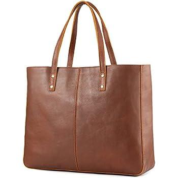 Kattee Genuine Cow Leather Tote Bag Vintage Large Handbag (Brown) c65698290da5c